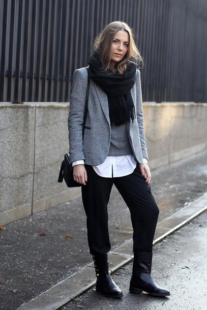 fashion and style blogger boyish black pants grey sweater blazer grey blazer non-binary