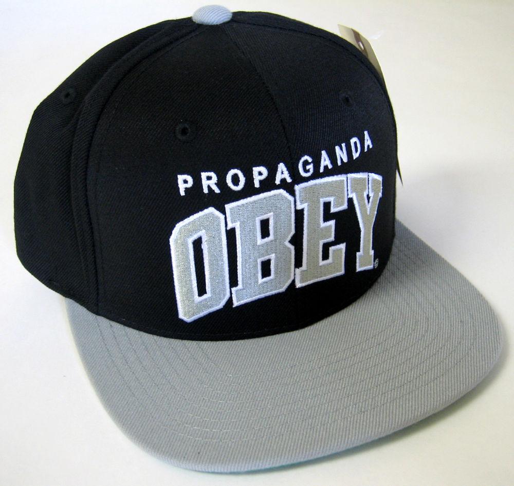 Obey Accessories Throwback Mens Hat Snapback Shepard Fairey Art Blk SLR OSFA   eBay