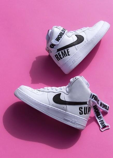 shoes supreme nike air force 1 white hightop nikes