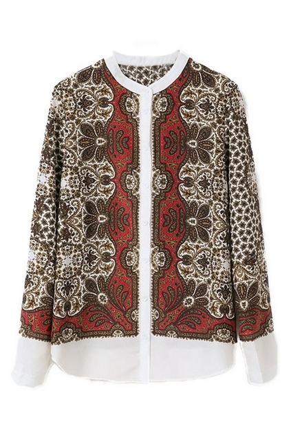 ROMWE | National Style Long Sleeves Coffee Shirt, The Latest Street Fashion