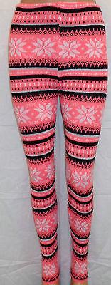 New Womens Ladies Winter Snowflake Nordic Fair Isle Knitted Leggings | eBay