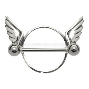 Surgical Steel and Silver Nipple Rounder - Wings- Buy Jewellery