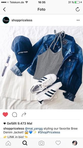 tank top tumblr hipster adidas skirt white striped top stripes crop tops cropped baseball cap cap jeans jacket adidas superstars shoes mini skirt shirt hat denim jacket california