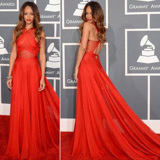 dress rihanna red carpet grammy red dress red maxi dress cut-out dress celebrity
