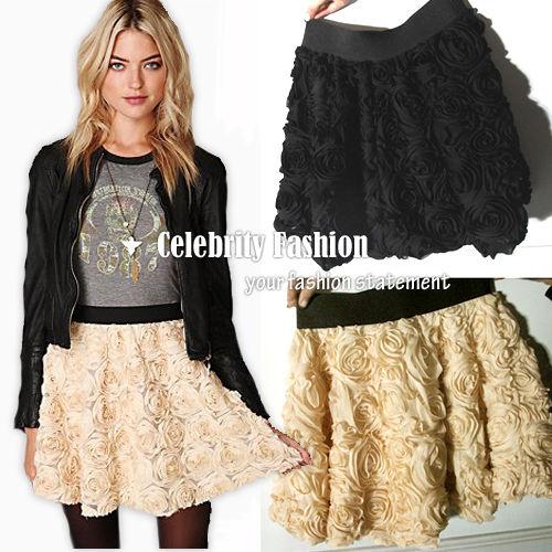 SK23 Celebrity Style 3D Rose Applique Floral A Line Skater Flared Mini Skirt | eBay