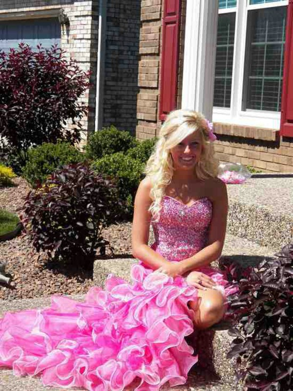 dress prom dress pink dress sparkly dress