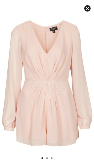 blouse topshop pleated front play suit pink romper shorts