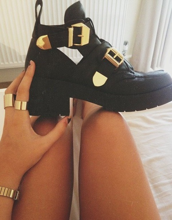 shoes gold boots black jewels fashion black shoes with open sides and d gold buckles
