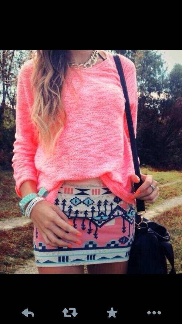 skirt shirt pastel print aztec tribal pattern pink