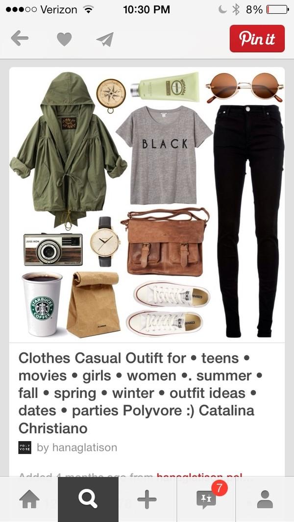 coat jeans t-shirt bag sunglasses shoes