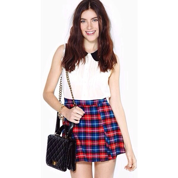 skirt plaid plaid skirt red plaid blue plaid blouse