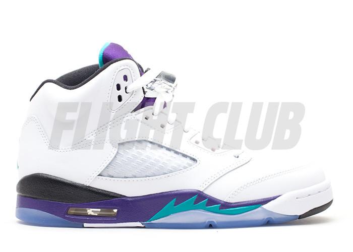 "air jordan 5 retro (gs) ""grape 2013 release"" - white/new emerald-grp ice-blk - Air Jordan 5 - Air Jordans  | Flight Club"