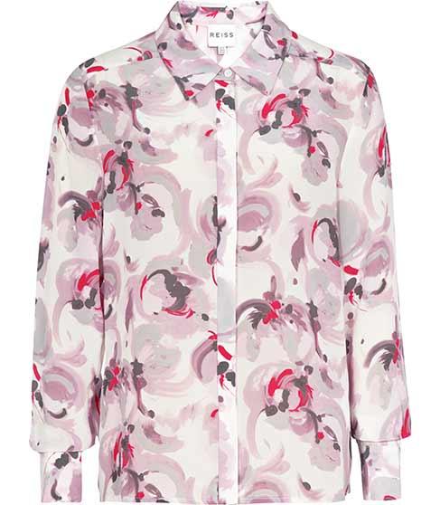 Tulip Rose Printed Silk Shirt - REISS