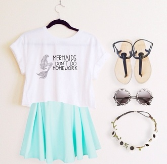 shirt mermaid skirt sunglasses top cropped t-shirt mermaid shirt clothes sandals tumblr clothes flower crown crop tops galaxy skirt circle skirt light blue shoes mermids t-shirt white t-shirt don't don't grow up trap white green blue blue skirt green skirt cool beautifull pinky blue light simmer summer flowers mint green skirt hair accessory simmer wear summer top tumblr outfit skater skirt white crop tops graphic tee teal skirt teal glasses black and white