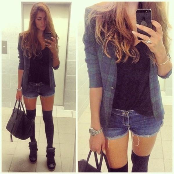 bag clothes fashion girly oufit stylish shorts coat jewels