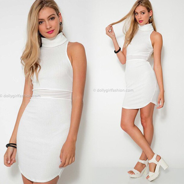 Dress Dolly Girl Fashion White Dress Turtleneck Dress Turtleneck Dressy Tight Fall Outfits Plain White Dress Party Dress Sexy Part Dress Fall Dress Fall Outfits Wheretoget