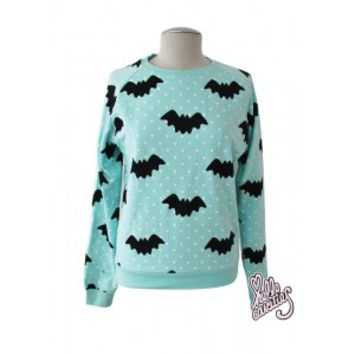 Hello Cavities Cute Pastel Goth Polka Dot Bat Sweater Mint on Wanelo