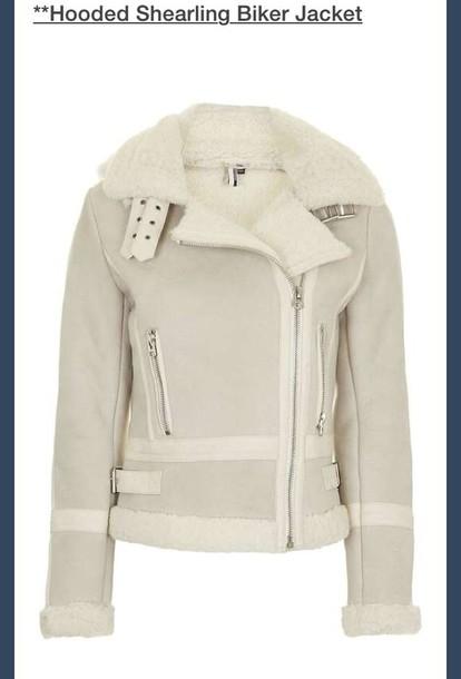 coat white biker jacket fur jacket winter coat winter jacket shearling jacket