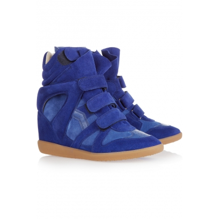 ISABEL MARANT Bekett leather and suede sneakers - Bright Blue