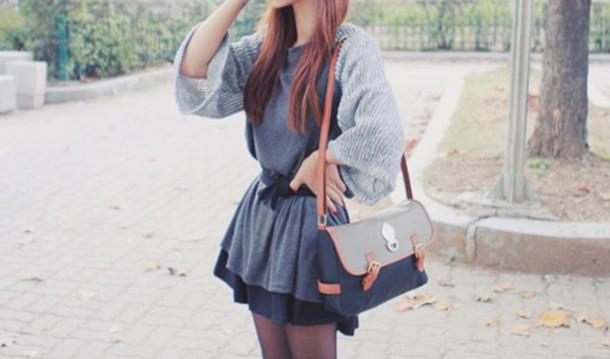 dress short dress long sleeves blue dress