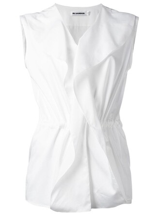 blouse sleeveless ruffle women white cotton top