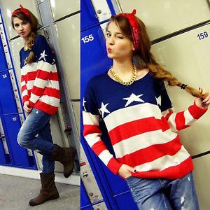 Fashion American Flag Unisex Womens Mens Lover Pullover Jumper Tops Sweater E | eBay