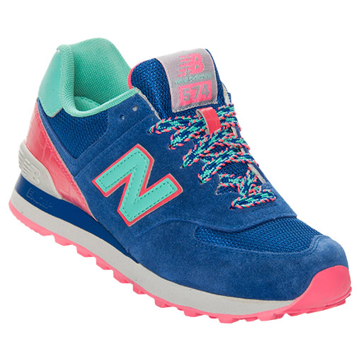 Women's New Balance 574 Backpack Casual Shoes| FinishLine.com | Blue/Green/Pink