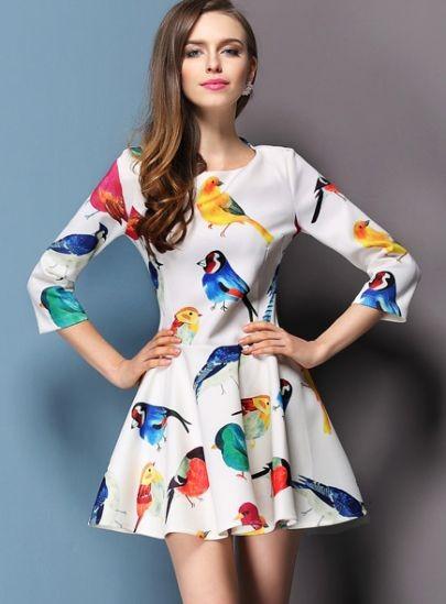 White Round Neck Birds Print Ruffle Flare Dress