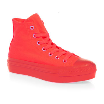 Converse Chuck Taylor All Star Platform Hi Shoes - Fiery Coral