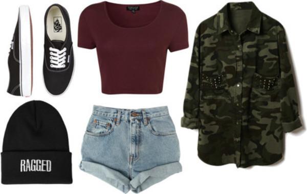 shirt high waisted levi's shorts camo jacket beanie vans crop tops jacket shoes shorts