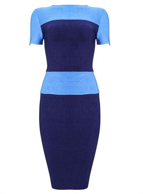 Color Block Short Sleeve Bandage Dress H788$109