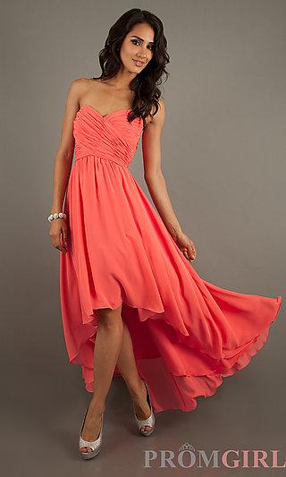 Strapless High Low Dresses, Mori Lee Strapless Dresses- PromGirl
