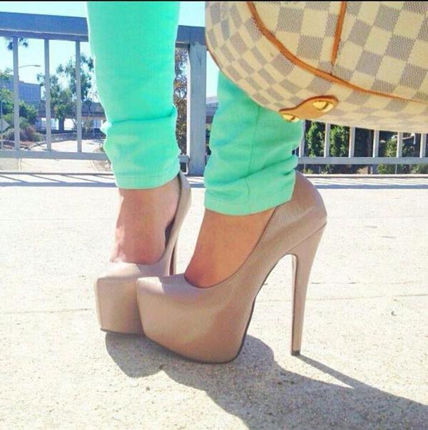 shoes nude platform pumps platform shoes high herls high heels heels girly nude pumps