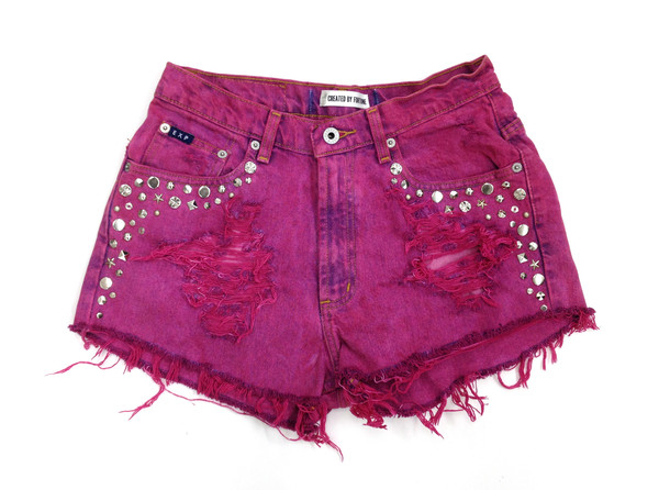 Pink Acid Cutoff Shorts | Created by Fortune