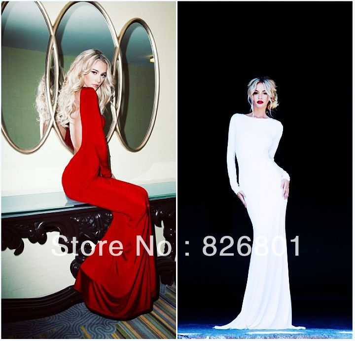 Vestidos De Fiesta 2014 New Arrival Sexy Backless White Red Long Sleeves Mermaid Evening Gowns Dresses Floor Length Prom Dresses-in Evening Dresses from Apparel & Accessories on Aliexpress.com