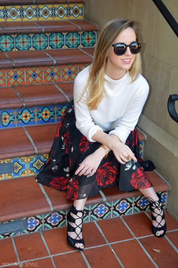side smile style sweater skirt shoes sunglasses jewels