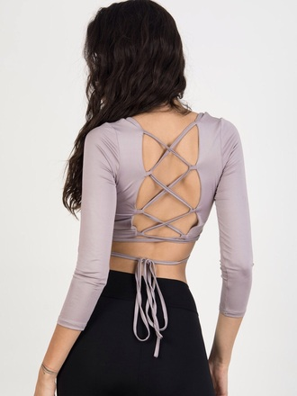 top girly girl girly wishlist chiclook closet backless trendy chic classy blouse girly wishist strappy tie up lace up cute crop crop tops cropped