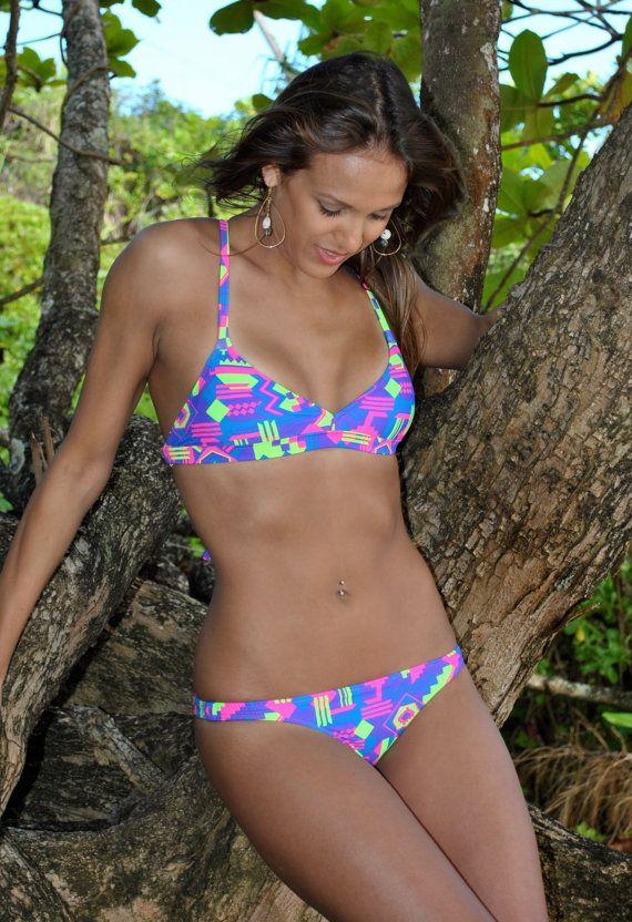 Neon Geometric Cross Back Bikini Top Pink, Purple, Green & Blue by Gr…
