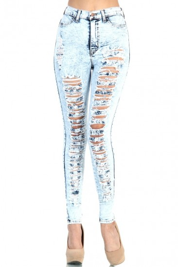 LoveMelrose.com From Harry & Molly   Distressed High Waist Jeans - Light Acid Wash