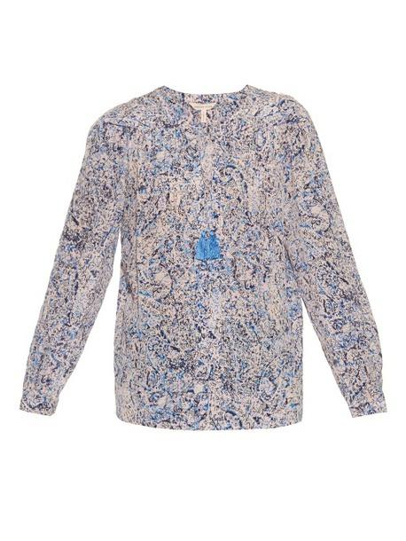 blouse fashion clothes rebecca taylor block-print silk blouse