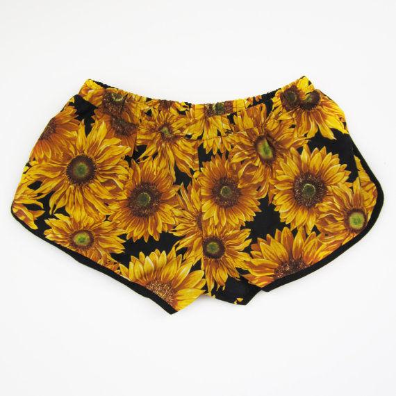Yellow Sunflower Spring Summer Womens Short Sunflowers Floral Shorts | eBay