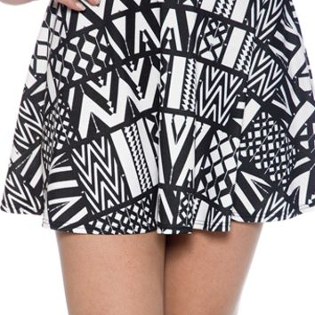 At Home in Monochrome Aztec Print Flared Skater Skirt - Black and White on Wanelo