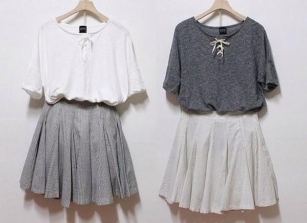 shirt white lace lace up grey t-shirt skirt