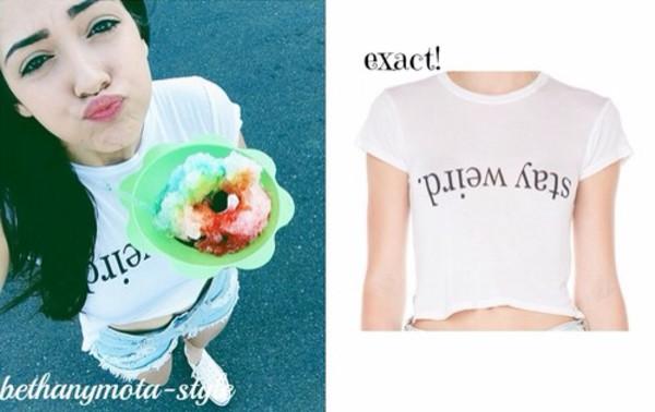 shirt white cute crop tops stay weird