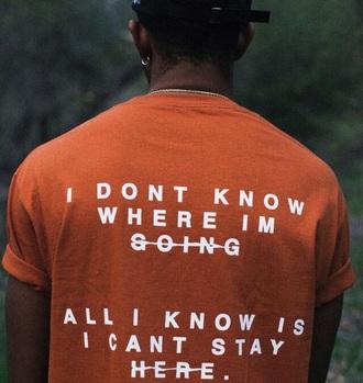 shirt orange black man t-shirt