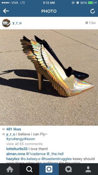 shoes wings angel metallic shoes metallic yru pumps heels