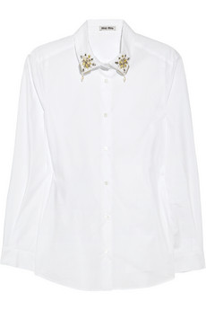 Embellished-collar cotton shirt | Miu Miu | 60% off | THE OUTNET
