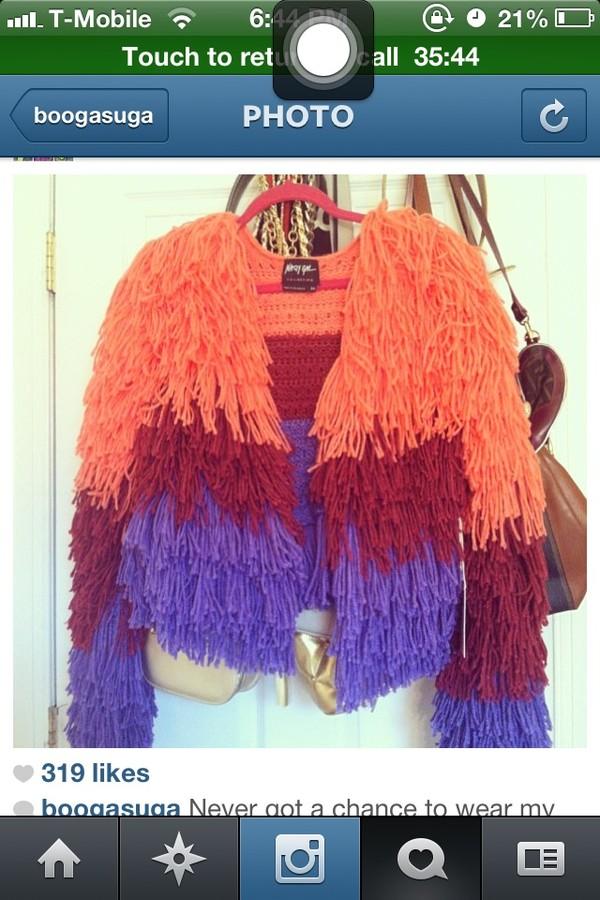 jacket orange purple burdgundy puff sheepskin