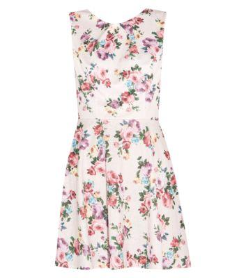 Light Pink Floral Textured Skater Dress