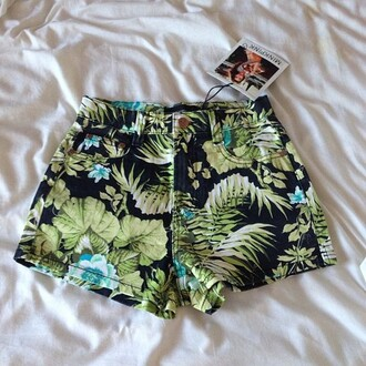 shorts tropical black and green blue high waisted shorts green tumblr printed shorts plants leafs jungle high waisted tropical print shorts floral black summer flowers tree
